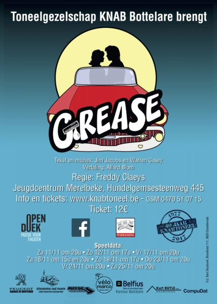 affiche opvoering musical 2017: Grease
